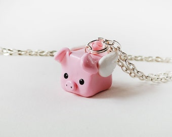 Pink Flying Pig Polymer Clay Charm Necklace
