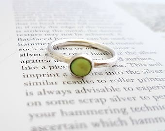 Sterling Silver Ring - Enamel Ring - Stacking Ring - Solitaire Ring - Stacker Ring - Lime Green Jewellery - Gift for Girlfriend