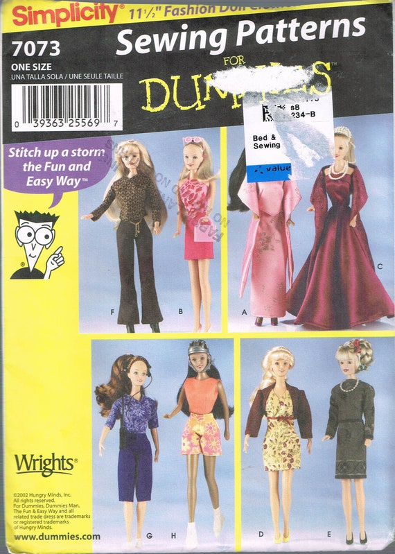 Barbie Doll Clothes Sewing Pattern - Doll Dress Sewing Patttern ...