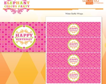 Pink Elephant Circus Happy Birthday - Water Bottle Wraps, Printable Drink Wraps - Hot Pink - DIY Print - Vintage Carnival - Instant Download