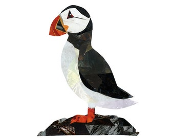 Puffin 8.5 x 11 Print of Original Collage