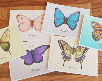 Butterfly Thank-you cards - Pack of 6 different designs from my original artwork