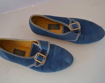Vintage Women' Blue BRUNSWICK Bowling Shoes Size 7P Gold Buckle Strap