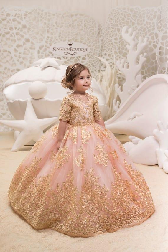 Erröten rosa und Gold Blumenmädchenkleid Geburtstag