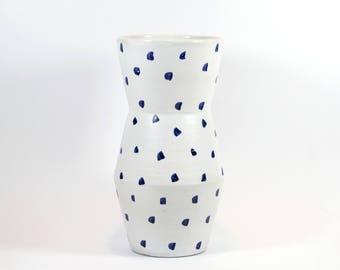White vase with blue dots / ceramic / handmade