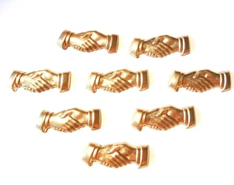 8 Brass Handshake Stampings
