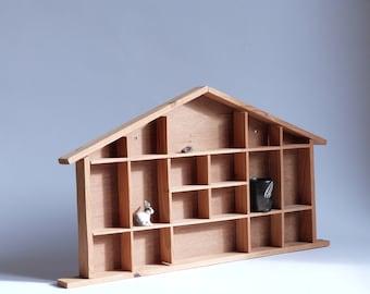 Handmade mini wooden house shelf - Wall decoration - Children room - Bedroom shelf