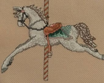 White Jumping Carousel Horse