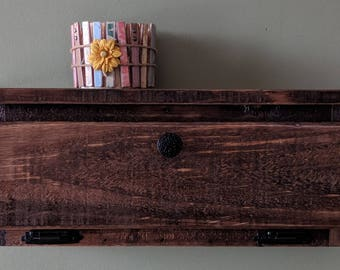Key Holder Organizer Cabinet with Top Shelf made from Rustic Reclaimed and Repurposed Pallet Wood