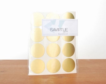 gold circle labels: circle seals, silver stickers, round labels, envelope seals set of 48