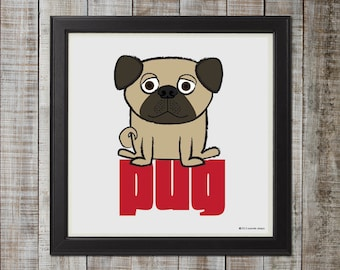 Adorable Pug Illustration, Fawn