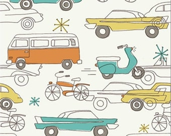 ORGANIC Cotton, Birch Fabrics, Cars, Circa 52 collection, 1 yard