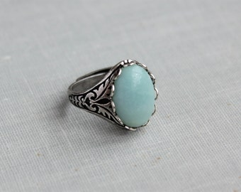 Amazonite Ring. Antique Silver or Antique Brass