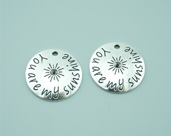 10pcs 22mm Antique Silver You Are My SunShine Charm Pendants,Sun Charm Pendants,Letter Charms Pendants Z1403