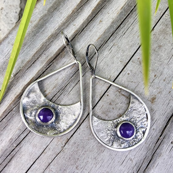 Charoite purple color and silver drop earrings