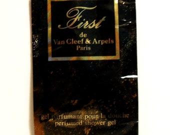 Vintage 1980s First by Van Cleef and Arpels 0.02 oz Perfumed Shower Gel Sample Packet