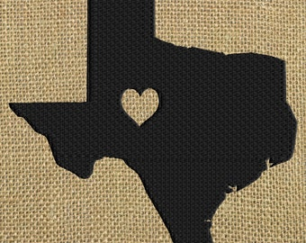 Texas Heart Design - I heart Texas - State - EMBROIDERY DESIGN FILE - Instant download - Dst Hus Jef Pes Exp Vp3 formats