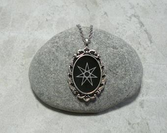 Moon phases pentagram necklace antique silver elven star necklace septagram jewelry heptagram pendant antique silver aloadofball Gallery
