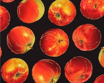 213268 black fabric with red apple fruit gold metallic by Timeless Treasures