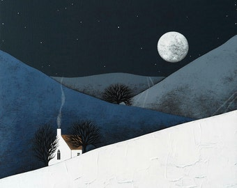Moon Rise - Archival 8x8 Print - Winter Night Landscape Painting - Modern Nursery Art - by Natasha Newton