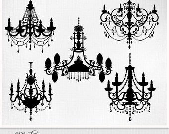 Chandelier Clipart baroque ornamental decorative EPS PNG and