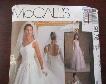 McCall's bridal pattern 9178 - uncut, size C, 10, 12, 14, fitted