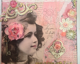 Mixed media collage on canvas 'precious memories' 20 x 20cm vintage look, shabby chic
