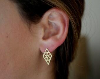 Gold Stud Earrings, Lozenges Earrings, Flowers Earrings, Geometric Stud Earrings
