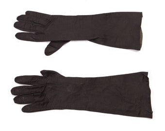 1950s Textured Black Leather Below the Wrist Gloves