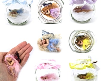 Realistic hand crafted miniature Fairies with display jar Pretty in colour Medium