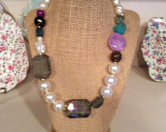SALE! 50% off. Iris Apfel inspired, chunky Pearmixture of glass beads, white and dark purple, gift,wearable art