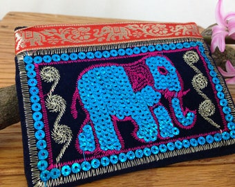 Clearance Sale - Thai Embroidered Elephant Coin Purse