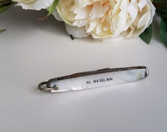 Vintage Pocket Knife, Mother of Pearl Handle Remington RC504 Pocket Knife Made in the USA, Vintage MOP Knife, Collectible Gift for Him