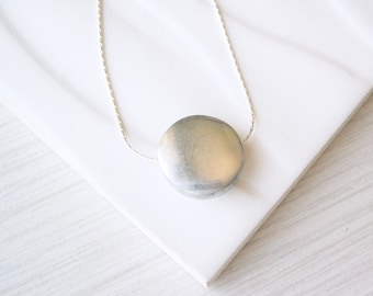 Simple Silver Necklace, Minimalist Jewelry, Contemporary, Aluminum, 10th Wedding Anniversary Gift, Sterling Option, Tenth, Modern