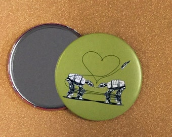 3.5 Inch Giant AT-AT Love Mirror - Green, Star Wars Mirror, Star Wars Gift, Star Wars Party, Pocket Mirror, Compact Mirror, Hand Mirror