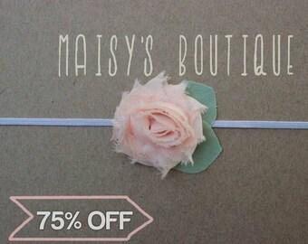 Small Blush Pink Shabby Flower Headband/ Newborn Headband/ Baby Headband/ Flower Girl/ Wedding/ Photo Prop