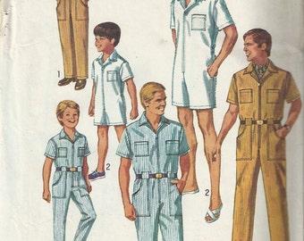 60s Simplicity 8257 Boys Mechanic's Jumpsuit Pattern Size 10