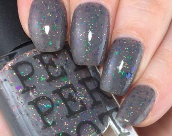 Gray Creme Nail Polish Chrome Flakies Glitter Nail Polish Indie Shop Limited Edition Pepper Pot Polish Gift For Her Gift Under 15