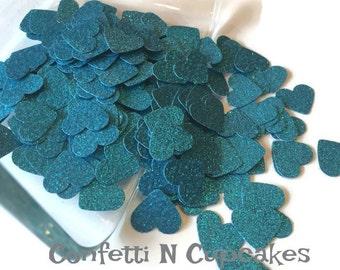 Turquoise confetti, heart die cut, table scatter confetti, wedding reception, glitter birthday decor, party confetti, scrapbook confetti