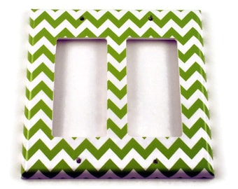Double Rocker Light Switch Cover Switch Plate Wall Decor  Switchplate  in  Green Chevron  (200DR)