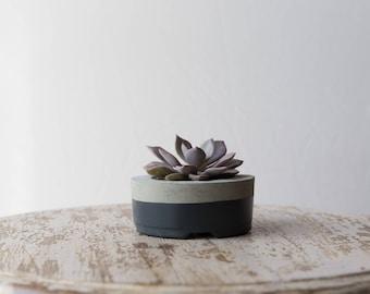 Small Concrete Planter, Gray