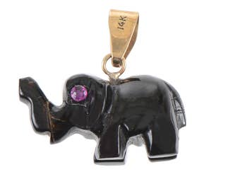 Carved Ebony Elephant Pendant/Charm