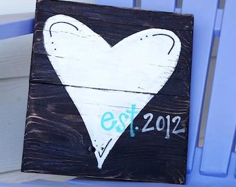 Wedding gift heart reclaimed wood sign