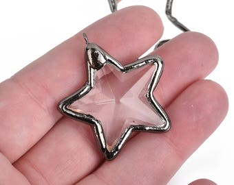 "1 Crystal STAR Drop Pendant, Clear Glass, Faceted, Gunmetal Black Bail, 1.5"" long, chs3956"
