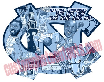 """Limited Edition UNC Tarheel Basketball Legends National Championship Decal Approx 8""""x6"""""""