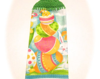 Easter Hand Towel With Spring Green Crocheted Top- Hiding Bunny And Easter Eggs