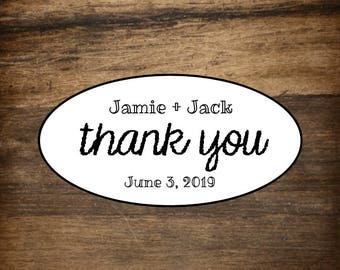 Wedding favor labels, personalized thank you stickers, oval stickers, set of 27, Matte white or Kraft brown, envelope seal, wedding favor