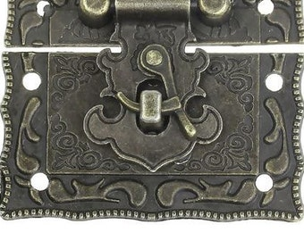 Zinc Based Alloy Cabinet Box Lock Catch Latches Antique Bronze Pattern Carved