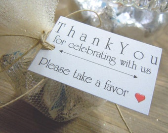 Please Take a Favor Wedding Favor Tags Wedding Favors - Favor Tags - Thank you Tags - Personalized Favors - Bridal Tags