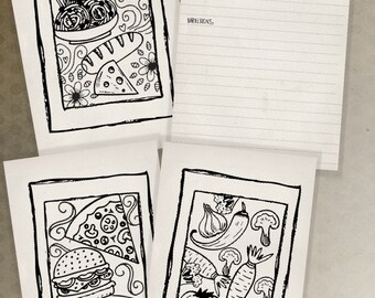 4x6 Printable Gift for Her Adult Coloring Card Recipe Cards Quick Gift Set Kitchen Printables Instant Download Digital Cooking Printable